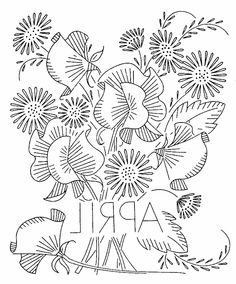 vintage flowers embroidery or redwork  april