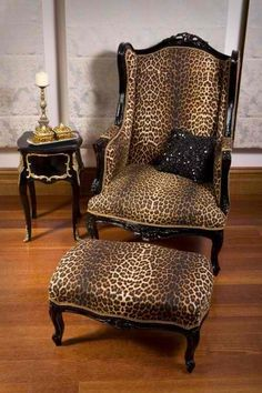 Leopard Print French Wing Chair and Ottoman Animal Print Furniture, Animal Print Decor, Animal Prints, Leopard Prints, Cheetah Print, Leopard Spots, Wing Chair, Chair And Ottoman, Stool Chair