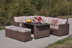 instead of for a nine-seater rattan furniture set - choose either black, brown, or grey from Dreams Living Ltd - save Rattan Corner Sofa, Corner Sofa Set, Rattan Garden Furniture Sets, Outdoor Furniture Sets, Outdoor Decor, Temple Gardens, Sit Back, Relax, Dreams