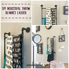 DIY Industrial Throw Blanket Ladder - Uncookiecutter.com