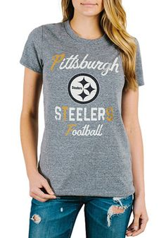 6e16b98c5 Junk Food Clothing Pittsburgh Steelers Womens Tri-Blend Grey T-Shirt  Pittsburgh Steelers Merchandise