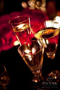 glamorous black pink gold wedding