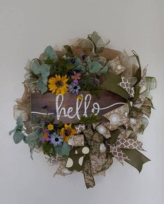Check out this item in my Etsy shop https://www.etsy.com/listing/580813400/hello-mesh-wreath-front-door-wreat-wall