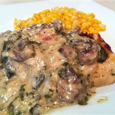 """Chicken Florentine Casserole Making tonight: Skip step 1. Saute mushrooms in butter w/crushed garlic, add spinach, saute a few min. Add heavy cream or 1/2 & 1/2. Pour into casserole dish, then layer uncooked chicken ontop and cover with """"sauce"""" and top w/bacon. Bake @350 for 25 min."""