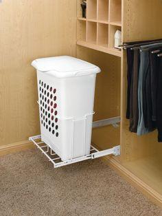 Rev-A-Shelf HPRV Series 14 Inch Deep Door Mount Hamper with Lid White Closet Organizers Hampers Hamper Deep Closet, White Closet, Laundry Room Storage, Laundry Hamper, Closet Storage, Closet Redo, Entryway Closet, Rustic Entryway, Laundry Closet