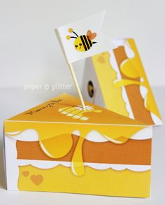 Honey Glazed Paper Cake Slice with Bee favor baking party box printables - Editable Text Printable PDF 1061. $4.50, via Etsy.