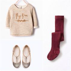 "Zara Girl ""Fly Free"" Dress Sweater with Burgundy Leggings"