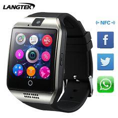 Langtek 2017 q18 + smart watch 카메라 블루투스 손목 시계 sim 카드 스마트 Ios 안드로이드 전화 좋은 U8 Q18 dz09