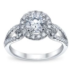 Simon G. 18K White Gold with a diamond or a pale aquamarine or pale pink sapphire