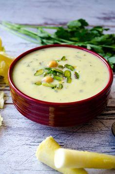 Creamy Zucchini Soup with Yogurt, Chickpeas & Pistachio -