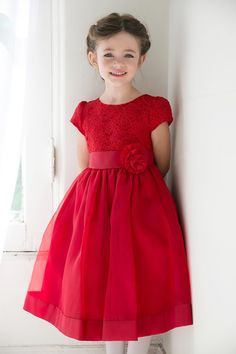Girls red lace holiday dresses