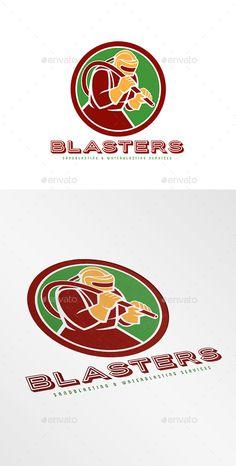 Blasters Sandblasting Logo — Vector EPS #industrial #hose • Available here → https://graphicriver.net/item/blasters-sandblasting-logo/9195982?ref=pxcr