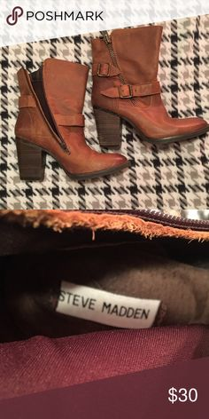Steve Madden Brown Boots Size 9.5 Steve Madden mid-calf boots. Buckle and zipper detail. Perfect condition, just were a little small for me! Steve Madden Shoes Heeled Boots