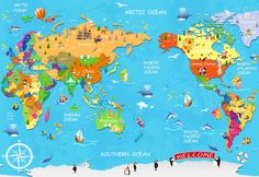 Map of the World Map, Big Text for Kids, Art Print Poster - u901 ...