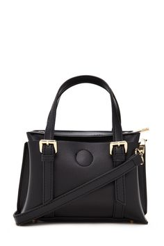 An unstructured faux leather mini satchel featuring high-polish buckle accents, dual handles, removable crossbody strap, two interior compartments, a zippered interior pocket, and two exterior magnetic snap-closure pockets.