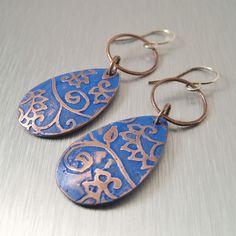 Blue Floral Copper Earrings by copperheart, via Flickr