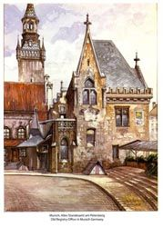 Old Registry Office in Munich painted by Adolf Hitler. Signed A. Hitler and verified original.