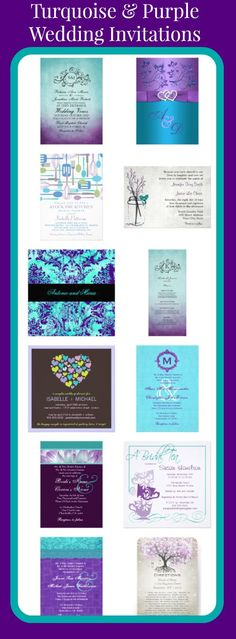 Turquoise and Purple Wedding Invitations for brides using teal, turquoise, and purple as their wedding colors.
