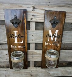 Personalized wedding gift, wedding gift with names, anniversary gift, traditional gift, wall mounted bottle opener. Hand made by Knotty Pines Designs. https://www.etsy.com/listing/235519634/wooden-bottle-opener-rustic-beer-bottle