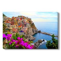 Gallery Direct Cinque Terre coast of Italy with flowers Photographic Print on Wrapped Canvas Size:
