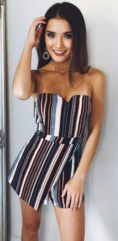 #fall #outfits women's white, teal, and gray striped strapless romper