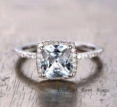 $419 Cushion Aquamarine Engagement Ring Pave Diamond Wedding 14K White Gold 7mm