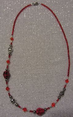 Red Howlite Gemstone Skull Beaded Charm Necklace by SummerCAmber, $11.00