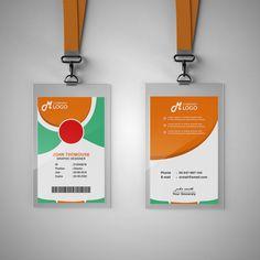 قالب بطاقة الهوية الخضراء و اورانج Identity Card Design, Visiting Card Templates, Corporate Id, Id Card Template, Certificate Design, Stationery Templates, Making Greeting Cards, Background Templates, Id Badge