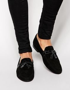 $90, Brand Tassel Loafers In Suede by Asos. Sold by Asos. Click for more info: http://lookastic.com/men/shop_items/126448/redirect