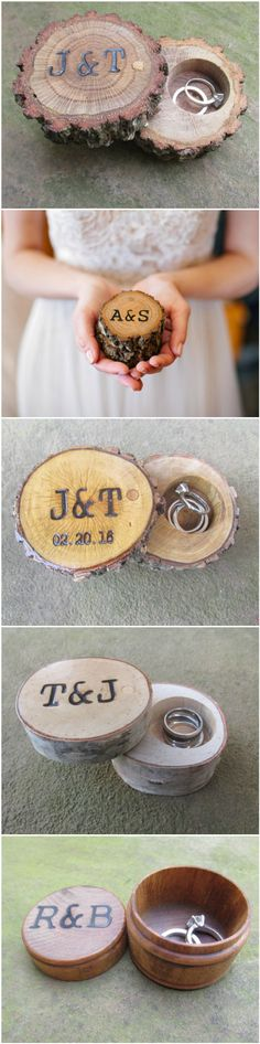 Rustic Wedding Ring Box Collection by Trees2Art. Country wedding ideas for rustic, country, barn and outdoor wedding themes. Ring Bearer Box Ideas.