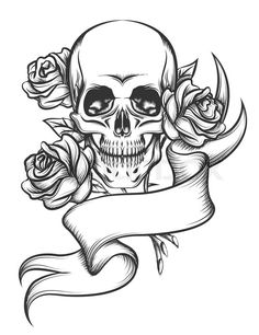 17619074-skull-and-roses-with-ribbon.jpg (615×800)