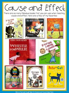 The 8 books pictured are books that would be very useful for teaching cause and effect. Each book has a clear cause and effect that would be perfect for different activities. Reading Lessons, Reading Strategies, Reading Skills, Reading Comprehension, Comprehension Strategies, Picture Comprehension, Library Lessons, Math Lessons, Kindergarten Reading