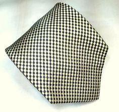 "Joseph Abboud Silk Necktie Tie Cream & Green Woven Squares Diagonal 62 1/2"" EUC #JosephAbboud #NeckTie"