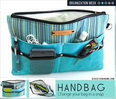 Sewing Bags From Sewing Tutorial Make a Purse Organizer with Dritz Hardware - From Sewing Tutorial Make a Purse Organizer using Dritz Hardware. Versatile for purse accessories, travel, sewing gear and more. Purse Organizer Pattern, Diy Purse Organizer, Purse Organization, Hardware Organizer, Handbags On Sale, Luxury Handbags, Purses And Handbags, Sewing Projects For Beginners, Sewing Tutorials