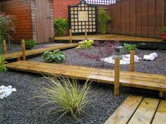 Decoración con inspiración japonesa en jardín