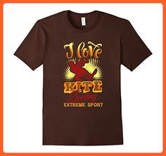 Mens I love kite surfing extreme sport kitesurfing TShirt Large Brown - Sports shirts (*Partner-Link)