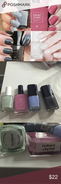 4 +1 high end nail polishes LVX Serene retails for $18. Trust fund I'm kind of a big deal retails for $15. Cult boneyard retails for $12. Ella + mila in pistache retails $10.50. All brand new and never used. Retail total is $55.50 w/o tax. My price is $20 shipped 🅿️🅿️ Makeup