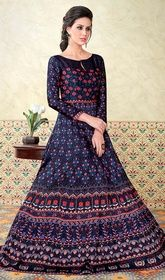 Blue Color Shaded Satin Floor Length Anarkali Suit #longflaredanarkali #girlsanarkali Attain a desirable value and a dainty style with this blue color shaded satin floor length Anarkali suit. The fantastic dress creates a dramatic canvas with terrific stones, lace and resham work. USD $ 104 (Around £ 72 & Euro 79)