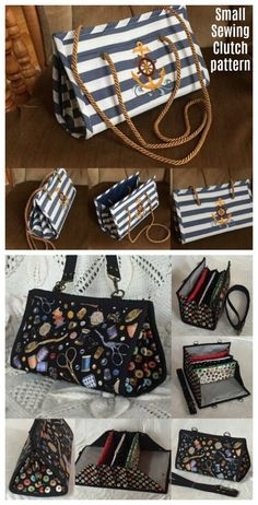 Pouches, Packs, and Purses to Sew Sewing pattern for a sewing, quilting or craft storage clutch bag. Clutch Bag Pattern, Wallet Sewing Pattern, Bag Patterns To Sew, Sewing Patterns, Sewing Alterations, How To Make Purses, Couture, Tote Purse, Purses And Handbags
