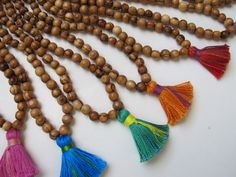 Bulk Wooden Tassel Necklaces, Custom Gift Pack Yoga Necklaces, Wholesale Order, Wood Meditation Beads, Bridesmaid Gifts, Wedding Party Gifts // Lovingly pinned by The Rainbow Farmer https://www.etsy.com/shop/TheRainbowFarmer