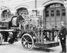 German Fire Engine Vintage 8x10 Reprint Of Old Photo