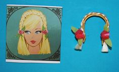 Vintage Barbie MOD Reproduction HAIR FAIR BLONDE CROWNETTE Braid Roses Wig #Mattel
