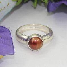 Tahitian Pearl Gemstone Ring  Bezel Setting Round by Silvergem2014