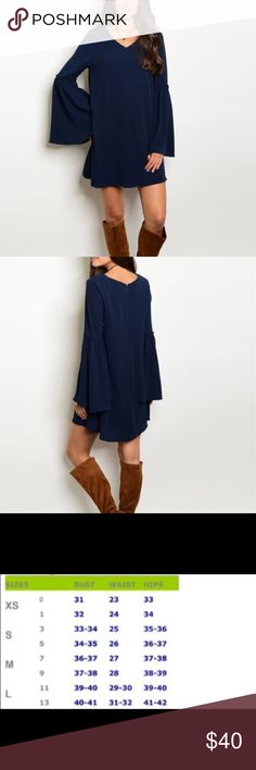 Navy Bell Sleeve Dress Navy bell sleeve dress for the Fall/Winter season.  Material: 100% polyester.  Price is firm on a single purchase.  But a discount is available for bundled purchases.  Use the bundle button.   Dresses