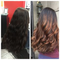 Before & After black to caramel balayage hair #versatilestrands by @amy_ziegler