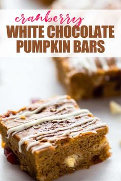 "Cranberry White Chocolate Pumpkin Bars are a ""healthier"" easy dessert! Gluten free cranberry white chocolate bars with pumpkin, that are made egg free! Super quick to whip up in under an hour! A great holiday dessert or for every day snacking. #glutenfree Sugar Pumpkin, Pumpkin Bars, Gluten Free Sweets, Gluten Free Baking, White Chocolate Chips, Vegan Chocolate, Holiday Desserts, Easy Desserts, Baking Recipes"