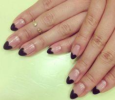 black heart manicure