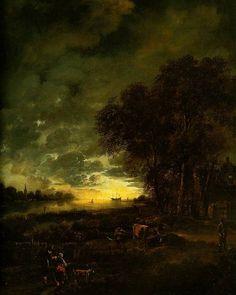 A Landscape With A River At Evening, 1650, Aert van der Neer. Dutch (1603 - 1677).  (1) Tumblr