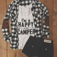 Happy Camper Tank {$30} | Black & White Flannel $42 | IN STORES NOW! Call to order ➸360.716.2982 Black And White Flannel, Black White, Spring Clothes, Spring Outfits, Dress Me Up, I Dress, Pretty Outfits, Cute Outfits, Diy Wardrobe