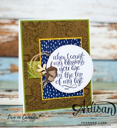 Crush On Colour: When I Count My Blessings - Stampin' Up! Artisan Design Team blog hop